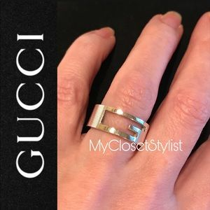 GUCCI Sterling Silver G Logo Ring 6.5 925 RARE